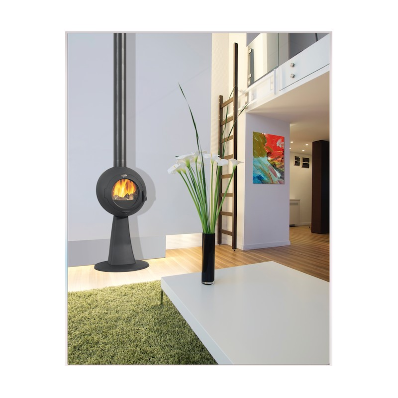 po le bois godin galey en fonte sur pied anthracite 7 kw. Black Bedroom Furniture Sets. Home Design Ideas