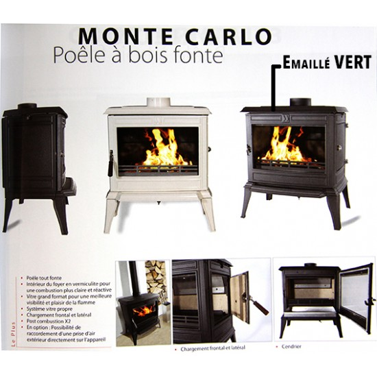 Po le bois fonte franco belge monte carlo emaill vert 12 kw for Poele a bois emaille