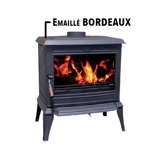 Poêle à Bois Fonte FRANCO BELGE MONTE CARLO Emaillé Bordeaux 12 kW