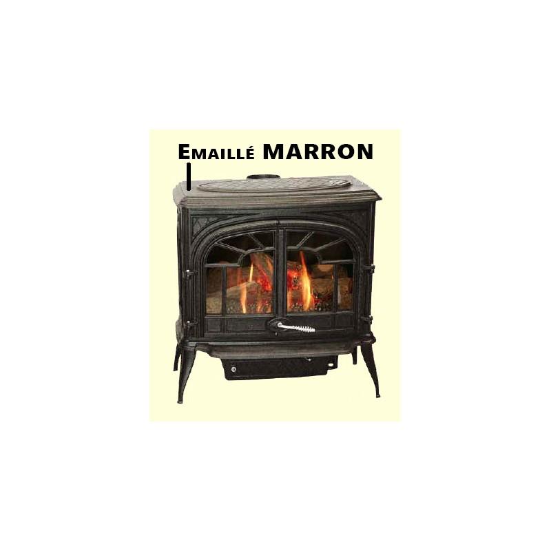 po le bois franco belge gascon emaill marron 2 portes barreaux 15 kw. Black Bedroom Furniture Sets. Home Design Ideas