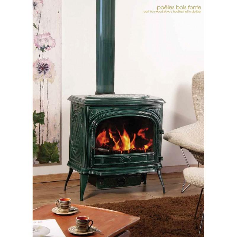 po le bois franco belge gascon emaill vert 1 porte 15 kw. Black Bedroom Furniture Sets. Home Design Ideas