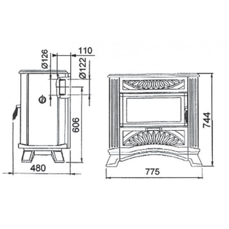 po le bois deville vintage vert majolique 9 kw. Black Bedroom Furniture Sets. Home Design Ideas