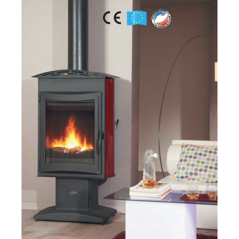 Po le bois godin brulhaut anthracite 15 kw for Poele a bois chargement lateral