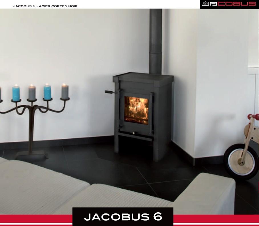 poêle à bois sylvatika jacobus acier corten noir 6 kw