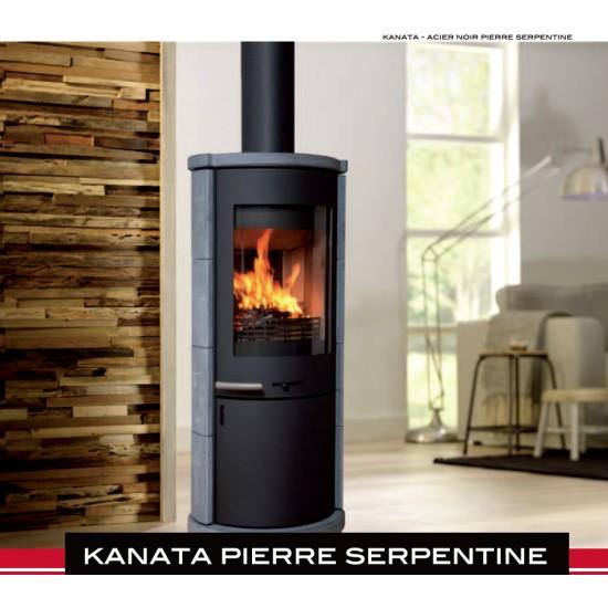 Poêle à Bois SYLVATIKA KANATA PIERRE SERPENTINE Acier Noir 6 kW